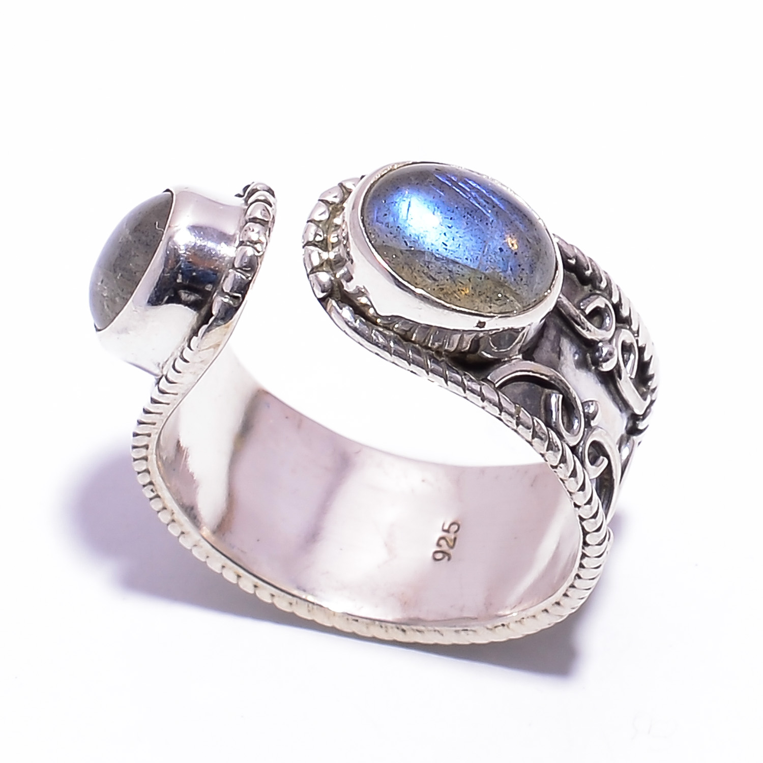 f057c38a0 Natural Rainbow Moonstone 925 Sterling Silver Ring Size US 8.25