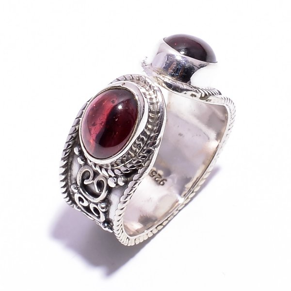 Garnet Gemstone 925 Sterling Silver Ring Size US 5.5 Adjustable