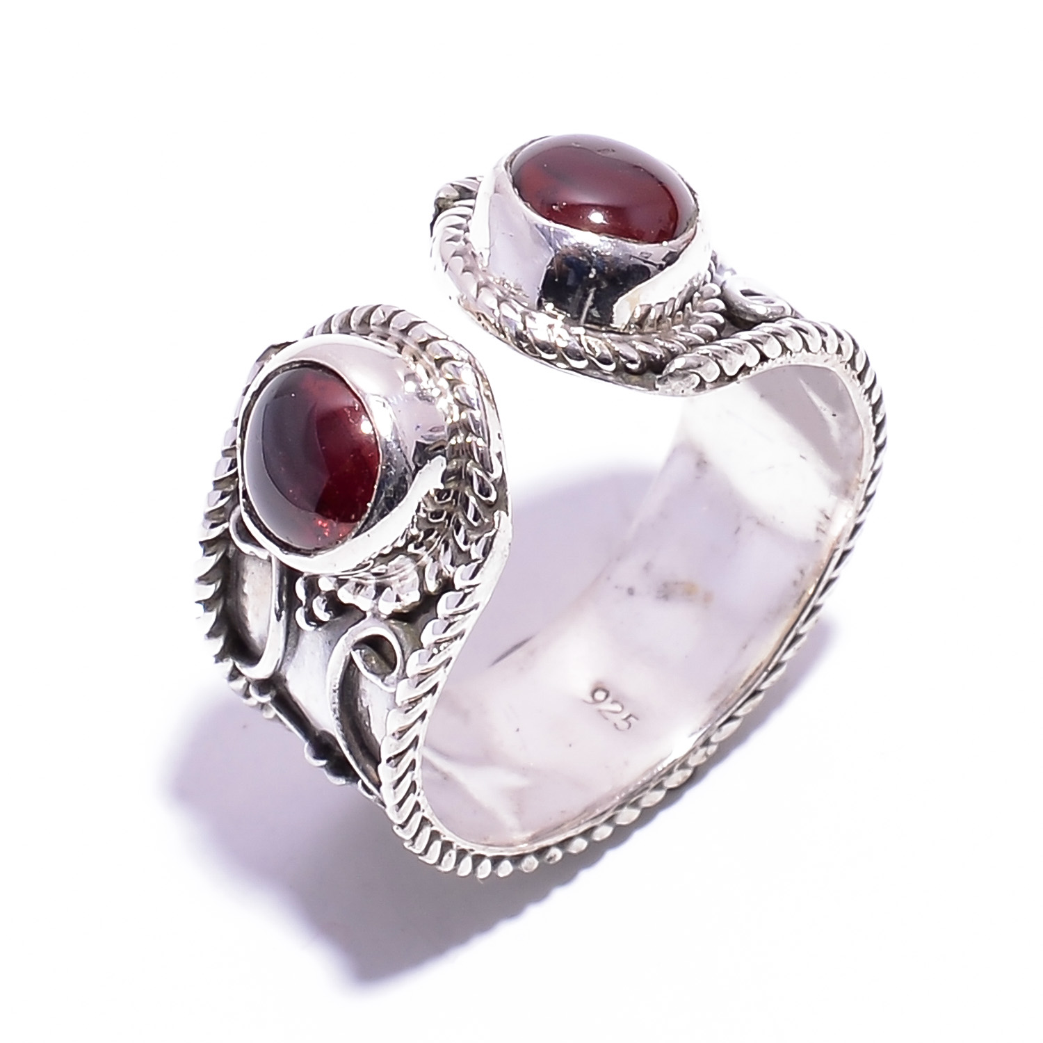 Garnet Gemstone 925 Sterling Silver Adjustable Ring