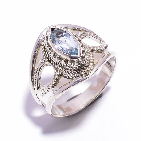 Blue Topaz Gemstone 925 Sterling Silver Ring Size US 8.5
