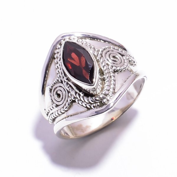 Garnet Gemstone 925 Sterling Silver Ring