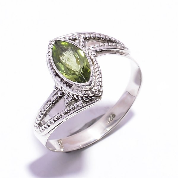 Peridot Gemstone 925 Sterling Silver Ring Size US 10.25