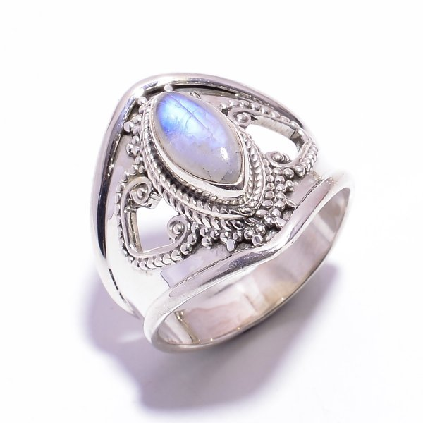 Rainbow Moonstone Gemstone 925 Sterling Silver Ring Size US 7.5