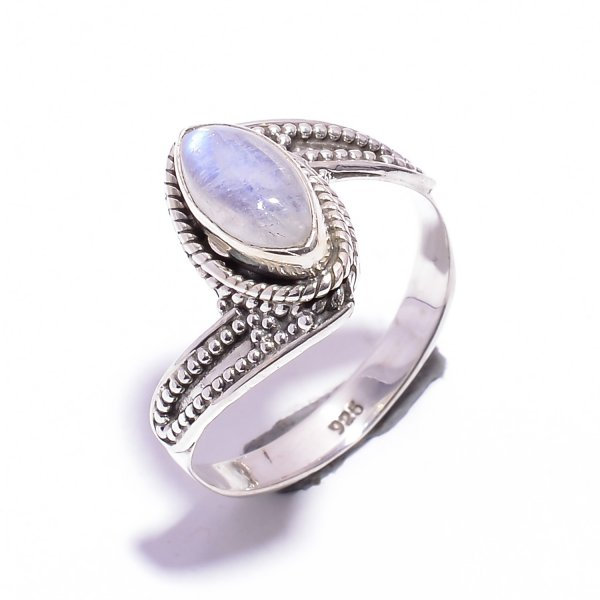 Rainbow Moonstone Gemstone 925 Sterling Silver Ring Size US 8.5