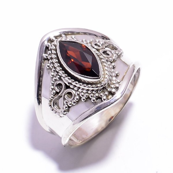 Garnet Gemstone 925 Sterling Silver Ring Size US 8.25