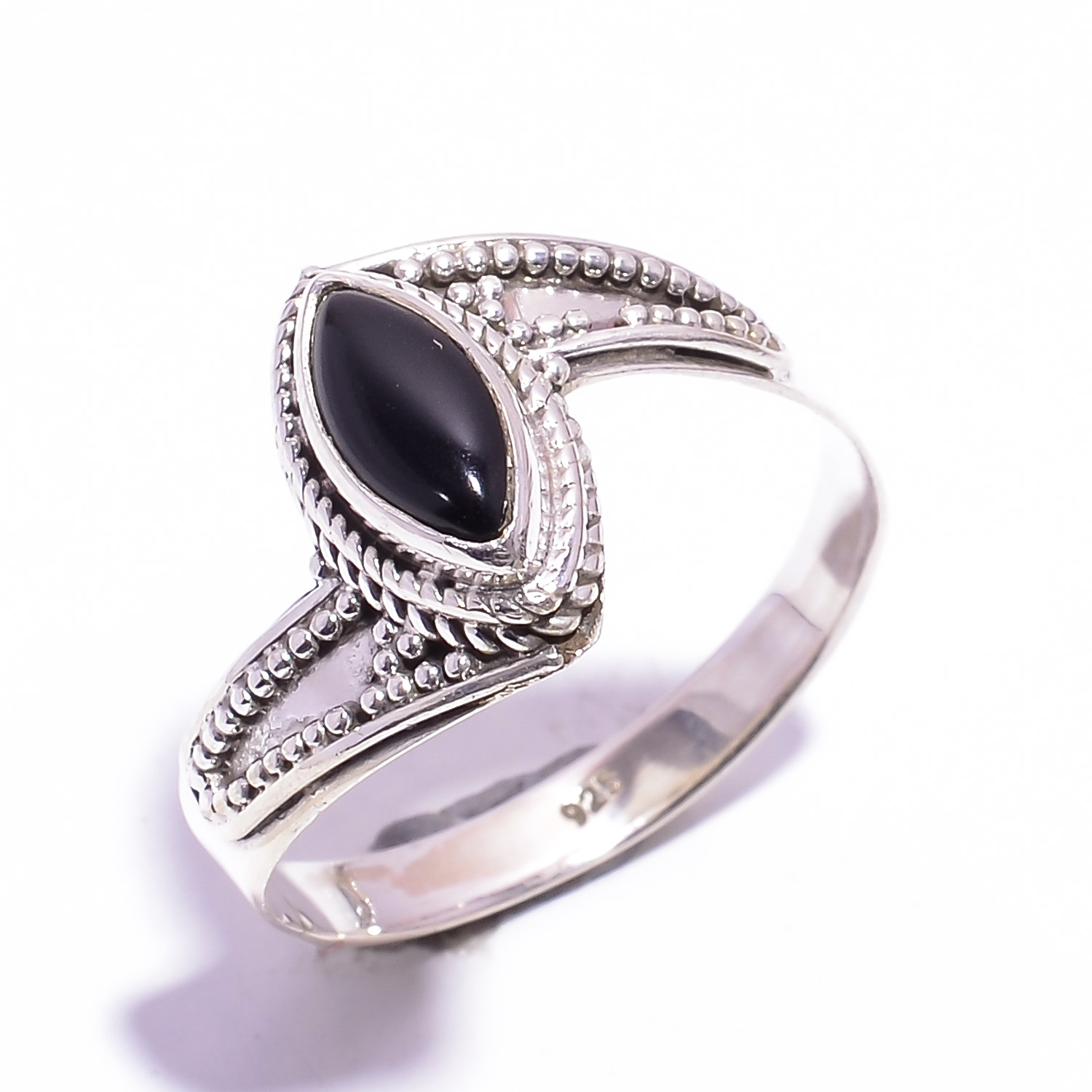Black Onyx Gemstone 925 Sterling Silver Ring Size US 11