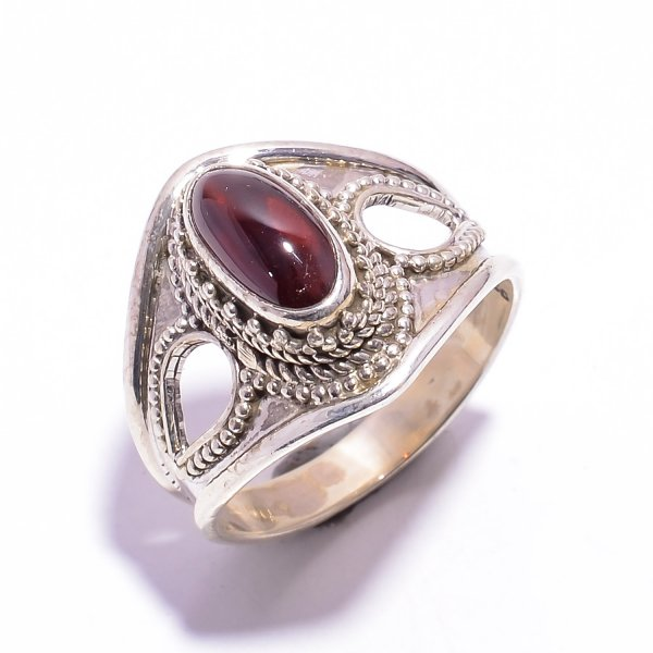 Garnet Gemstone 925 Sterling Silver Ring Size US 8.5