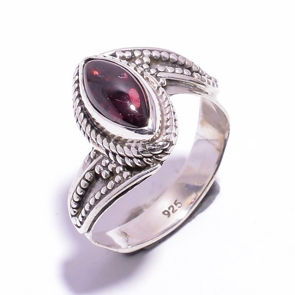 Garnet Gemstone 925 Sterling Silver Ring Size US 6.25