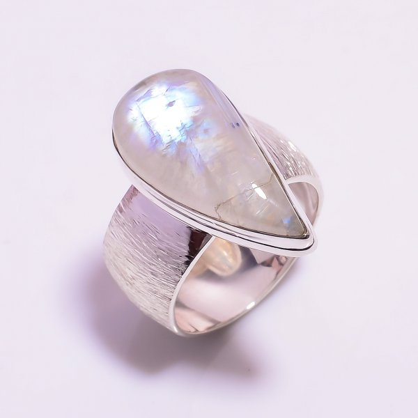 Natural Rainbow Moonstone 925 Sterling Silver Ring Size US 6.75