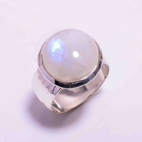Natural Rainbow Moonstone 925 Sterling Silver Ring Size US 9.75