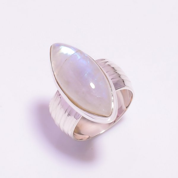 Natural Rainbow Moonstone 925 Sterling Silver Ring Size US 6.25