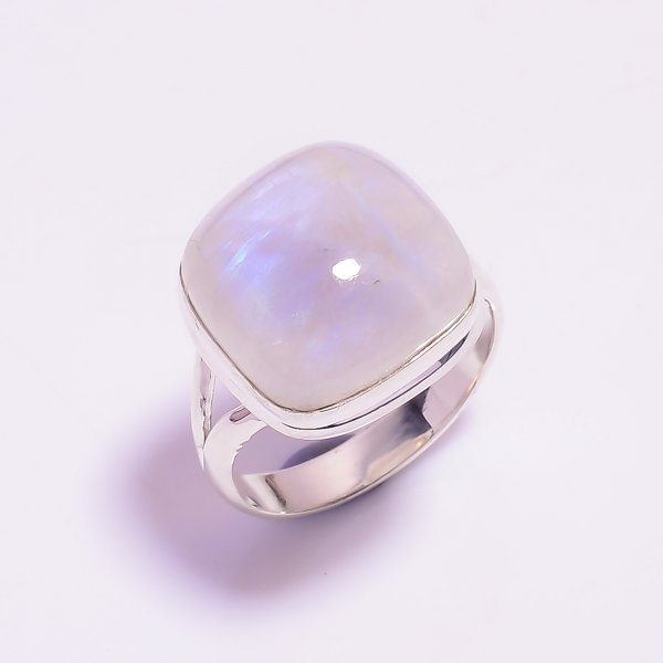 Natural Rainbow Moonstone 925 Sterling Silver Ring Size US 9.25