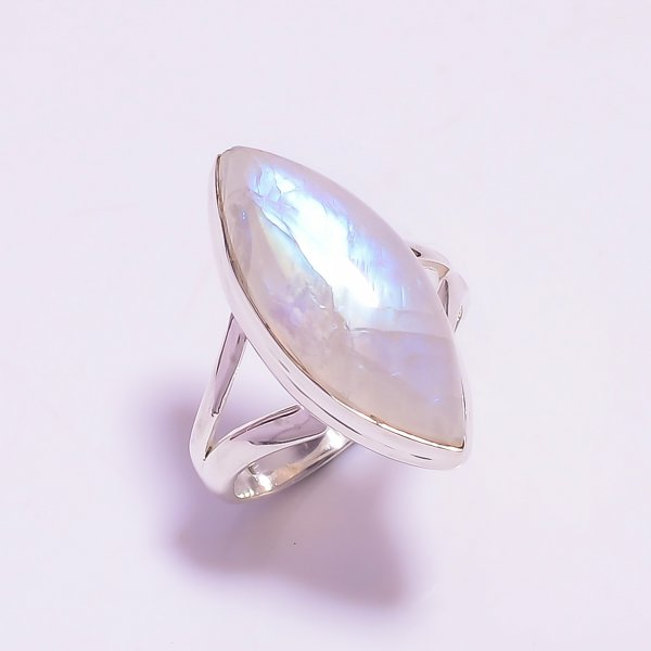 Natural Rainbow Moonstone 925 Sterling Silver Ring Size US 7.25