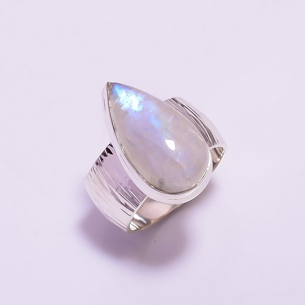 Natural Rainbow Moonstone 925 Sterling Silver Ring Size US 6