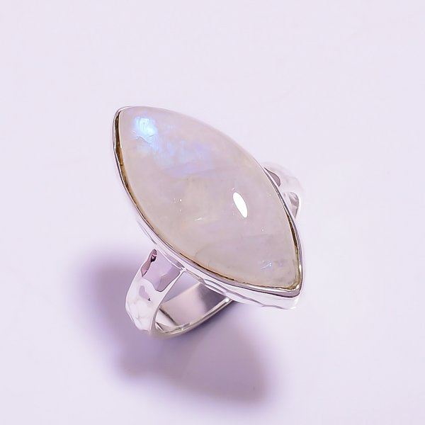 Natural Rainbow Moonstone 925 Sterling Silver Hammered Ring Size US 7.75