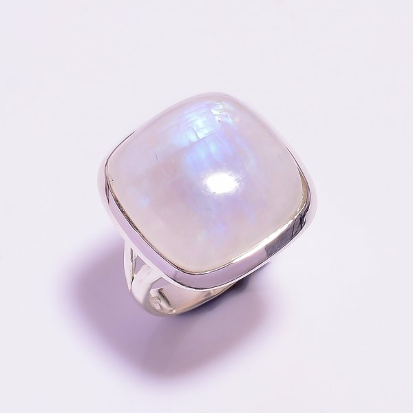 Natural Rainbow Moonstone 925 Sterling Silver Ring Size US 8