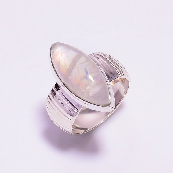 Natural Rainbow Moonstone 925 Sterling Silver Ring Size US 8.25