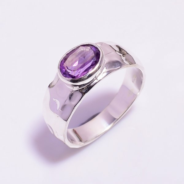 Amethyst Gemstone 925 Sterling Silver Hammered Ring