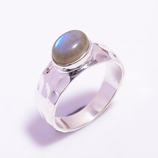 Labradorite Gemstone 925 Sterling Silver Hammered Ring Size US 7.75