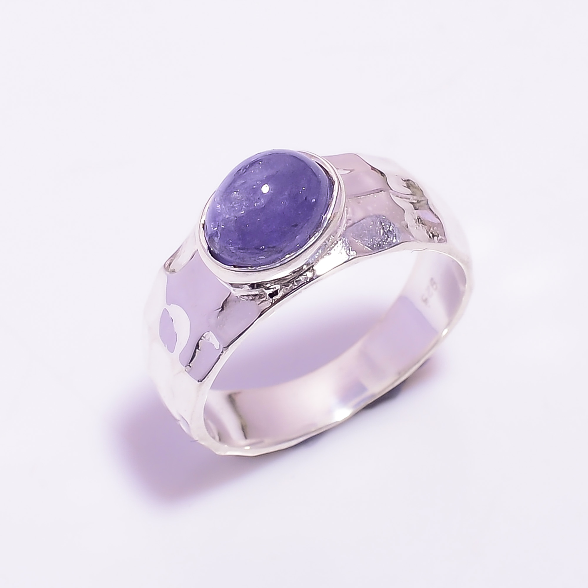 Tanzanite Gemstone 925 Sterling Silver Hammered Ring