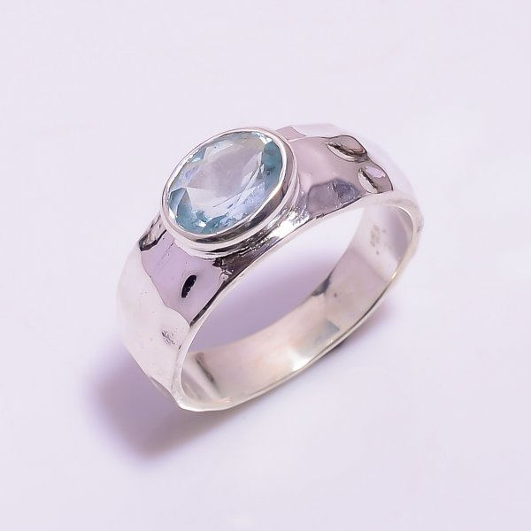 Aquamarine Gemstone 925 Sterling Silver Hammered Ring