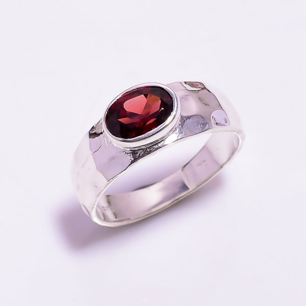 Garnet Gemstone 925 Sterling Silver Hammered Ring