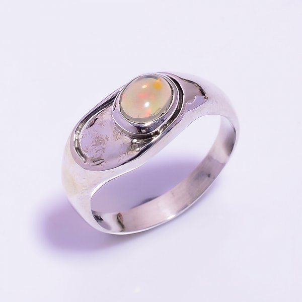 Ethiopian Opal Gemstone 925 Sterling Silver Ring Size US 9.5