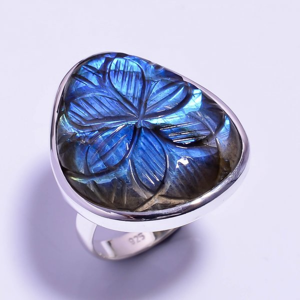 Labradorite Carved Gemstone 925 Sterling Silver Ring Size US 9