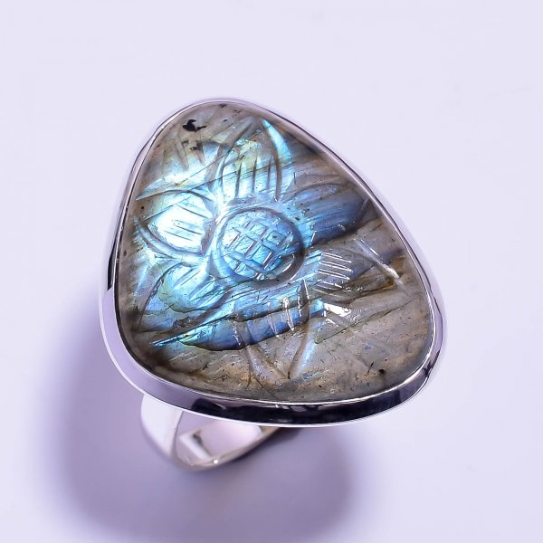 Labradorite Carved Gemstone 925 Sterling Silver Ring Size US 9.25