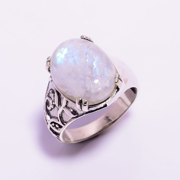 Natural Rainbow Moonstone 925 Sterling Silver Ring