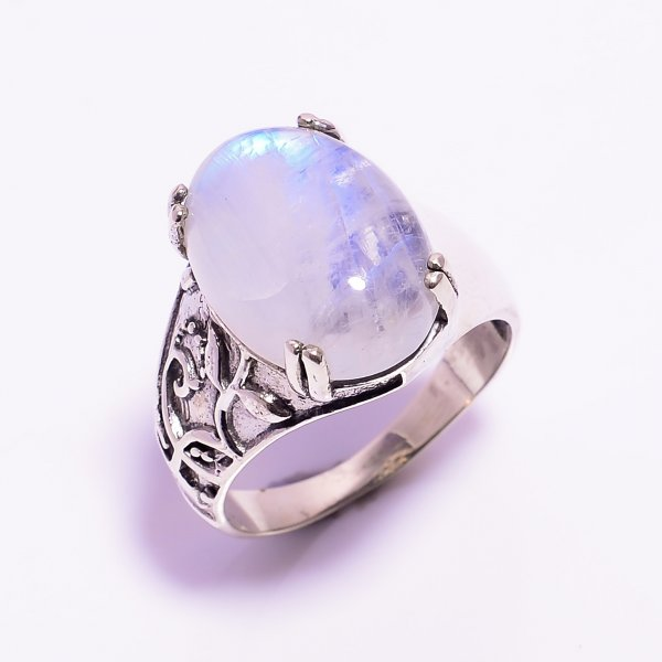 Natural Rainbow Moonstone 925 Sterling Silver Ring Size US 9
