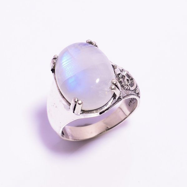 Natural Rainbow Moonstone 925 Sterling Silver Ring Size US 7