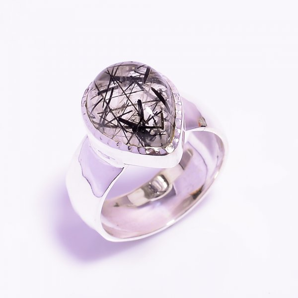 Rutile Gemstone 925 Sterling Silver Hammered Ring Size US 7.75