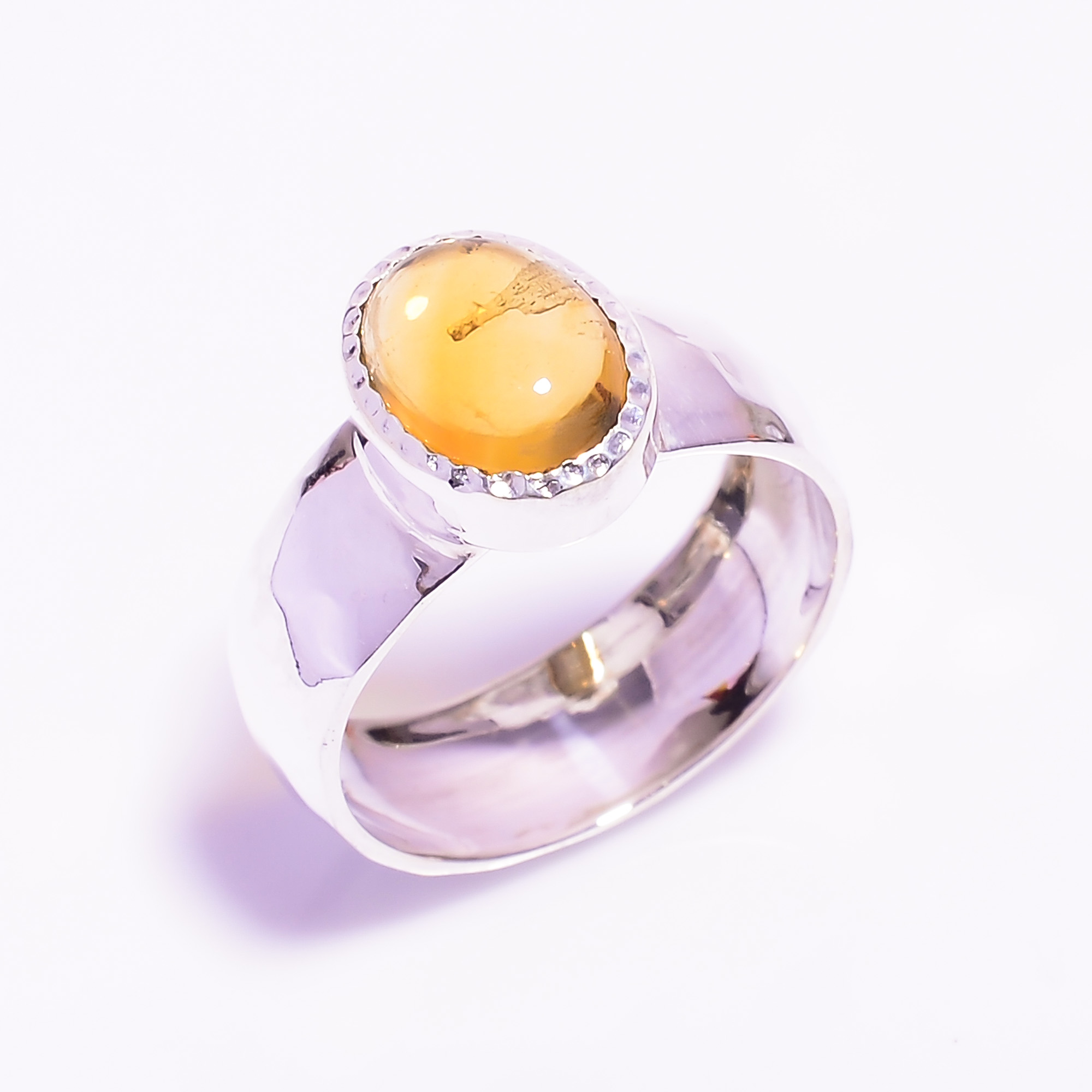 Amber Gemstone 925 Sterling Silver Ring Hammered Size US 8.75