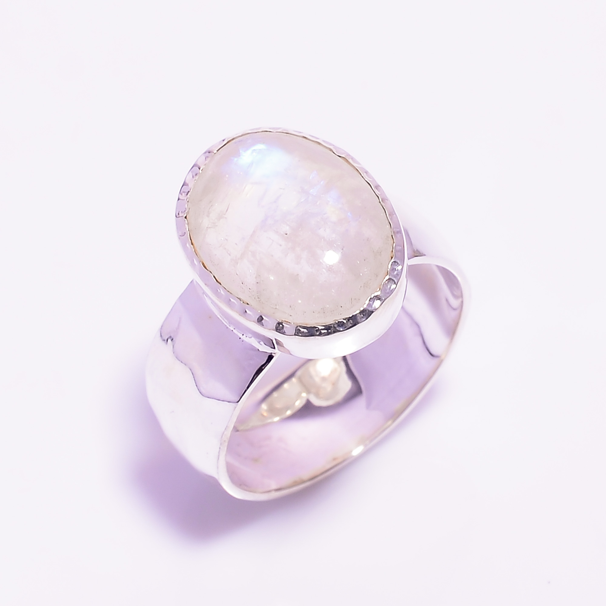 Rainbow Moonstone 925 Sterling Silver Hammered Ring Size US 7