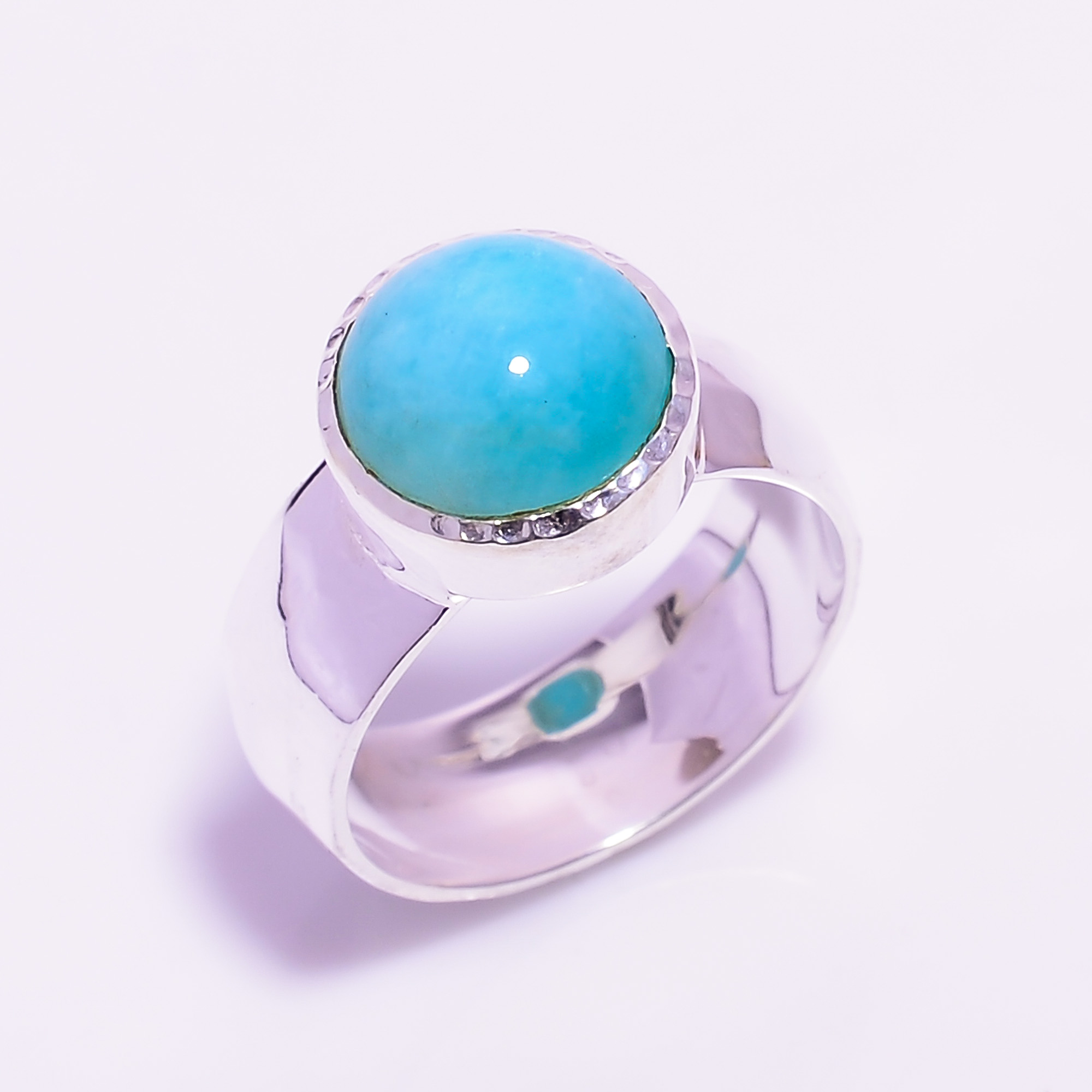 Amazonite Gemstone 925 Sterling Silver Hammered Ring Size US 6.75