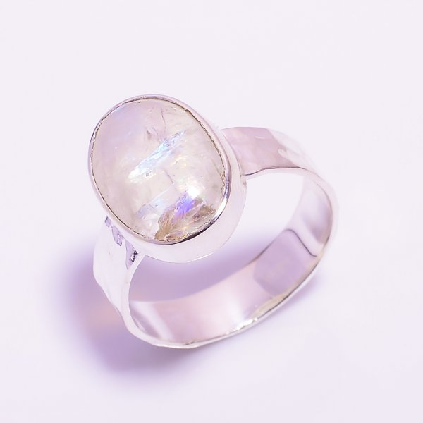 Rainbow Moonstone 925 Sterling Silver Hammered Ring
