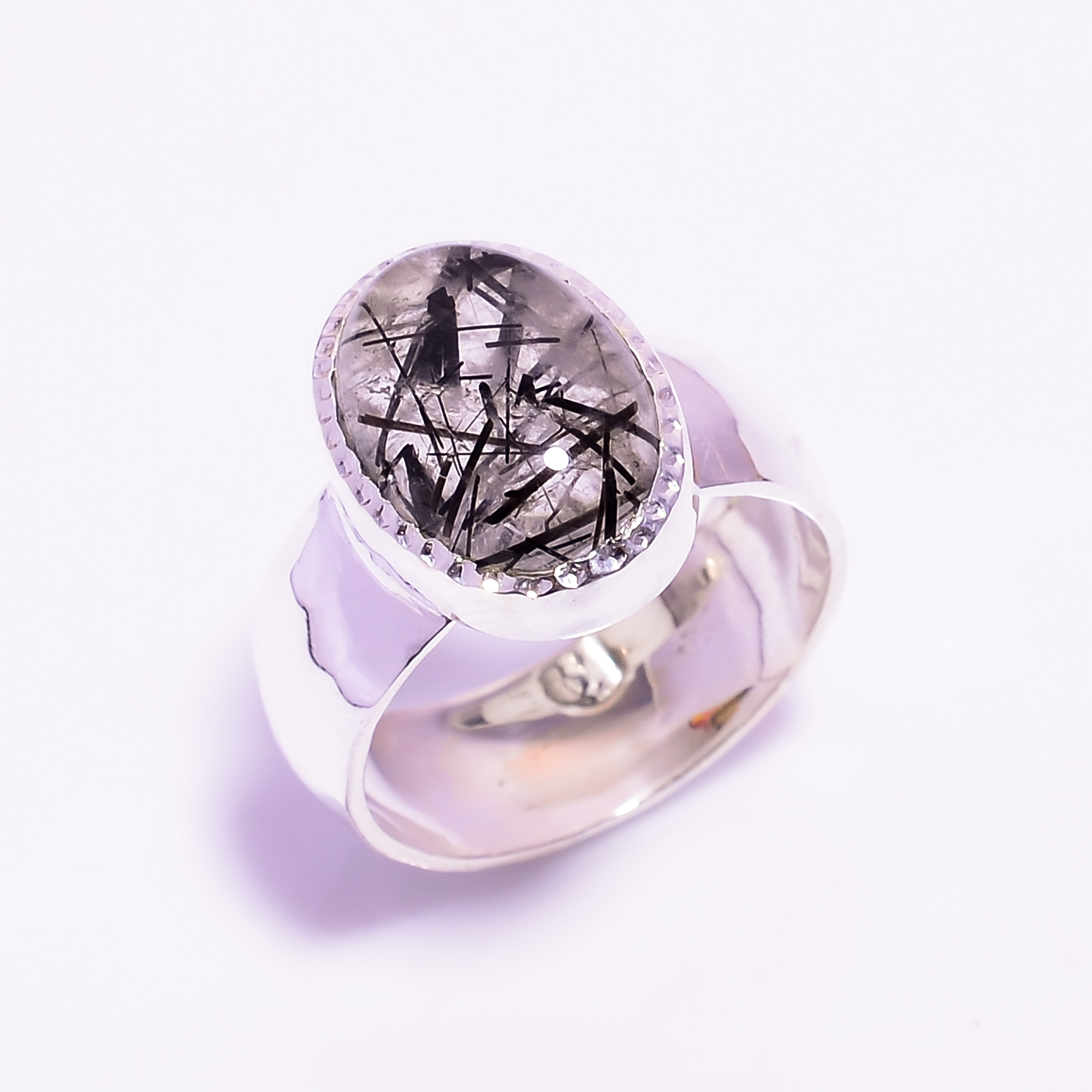 Rutile Gemstone 925 Sterling Silver Hammered Ring Size US 7.5