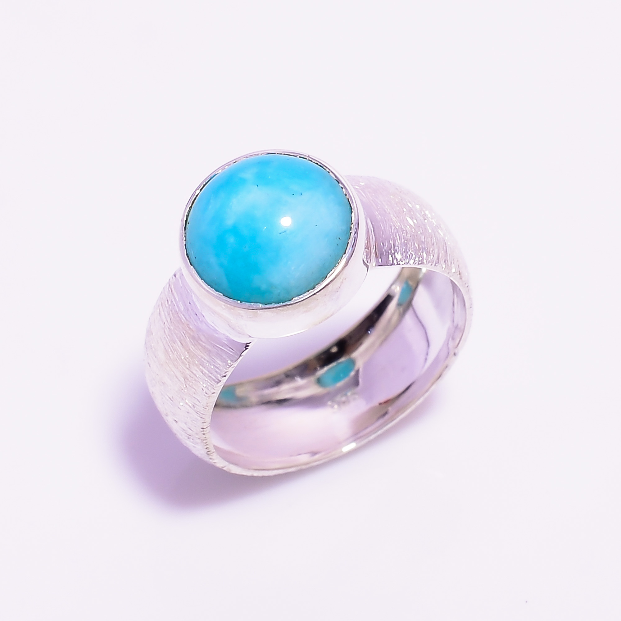 Amazonite Gemstone 925 Sterling Silver Ring Size US 6.75