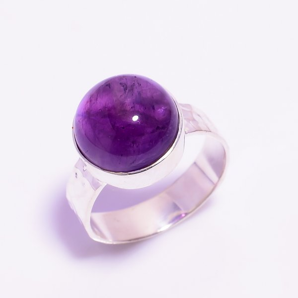 Amethyst Gemstone 925 Sterling Silver Hammered Ring Size US 7.5