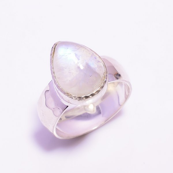 Natural Rainbow Moonstone 925 Sterling Silver Hammered Ring Size US 8.75