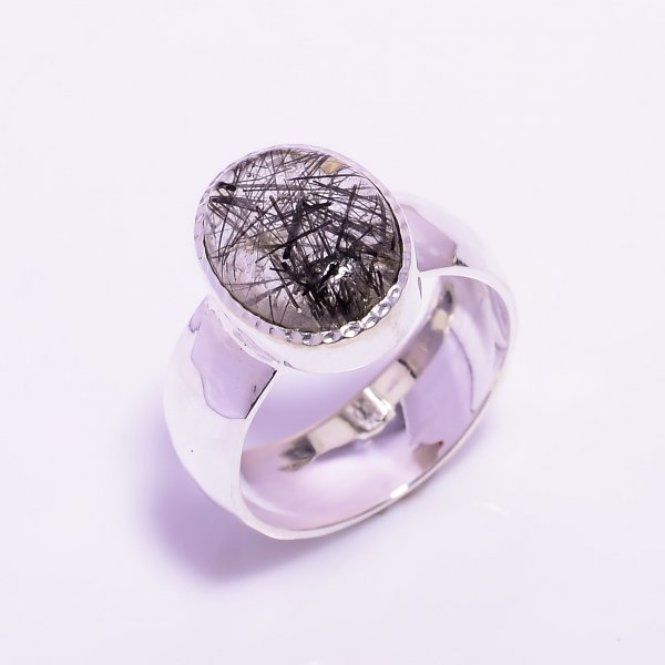 Rutile Gemstone 925 Sterling Silver Hammered Ring Size US 8.5