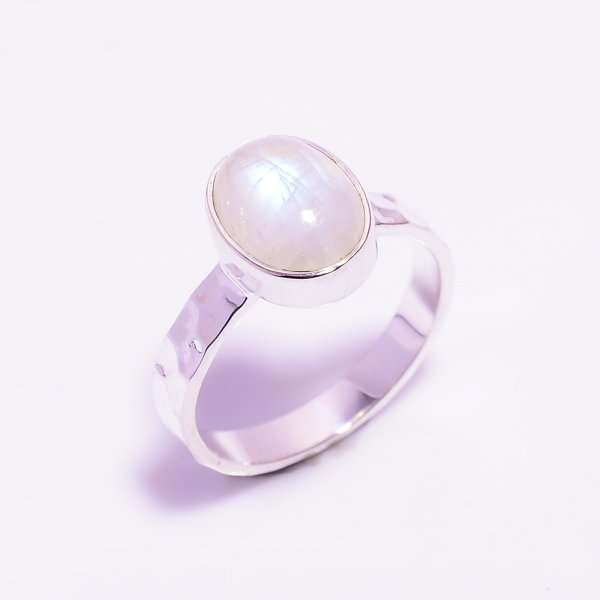 Natural Rainbow Moonstone 925 Sterling Silver Hammered Ring