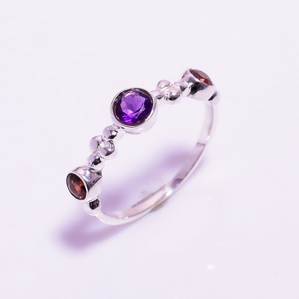 Amethyst Garnet Gemstone 925 Sterling Silver Ring
