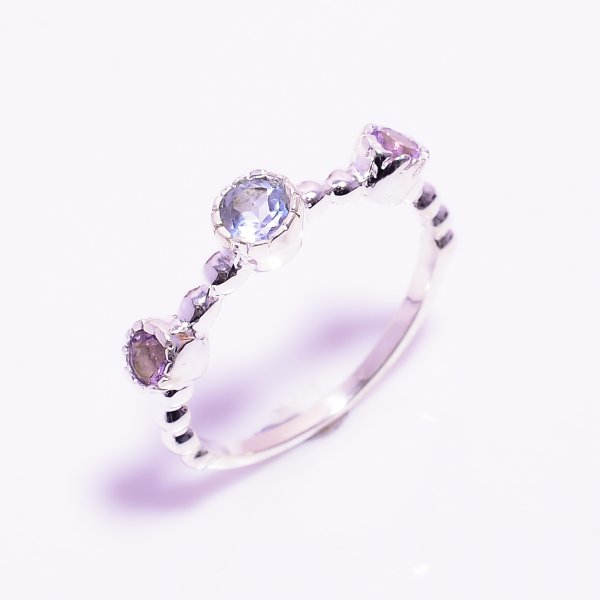 Blue Topaz Amethyst Gemstone 925 Sterling Silver Ring