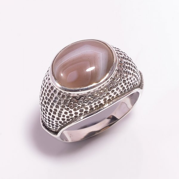 Botswana Agate Gemstone 925 Sterling Silver Ring Size US 7