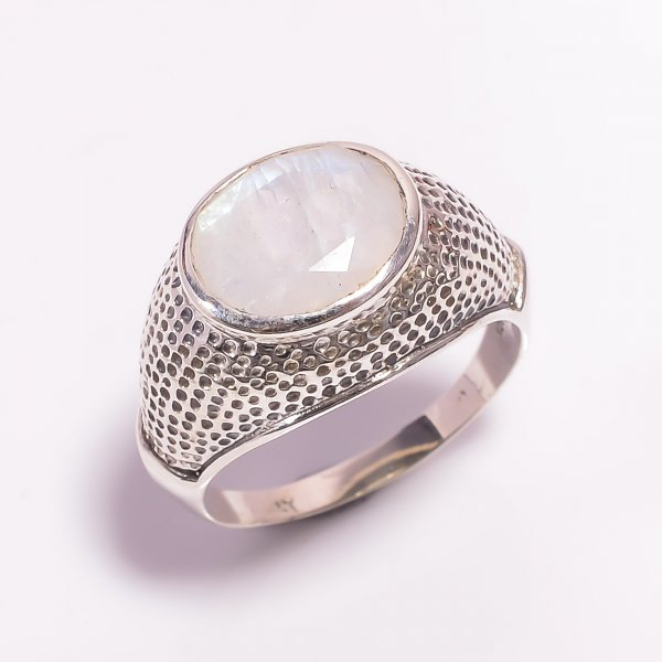 Natural Rainbow Moonstone 925 Sterling Silver Ring Size US 10
