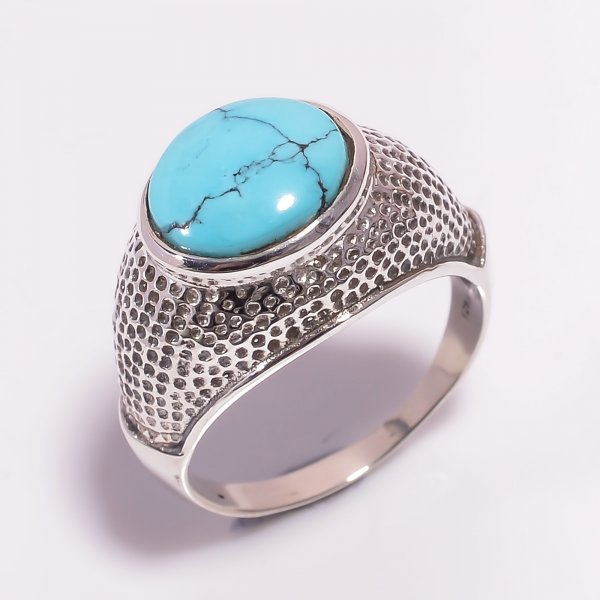 Turquoise Gemstone 925 Sterling Silver Ring Size US 9.25