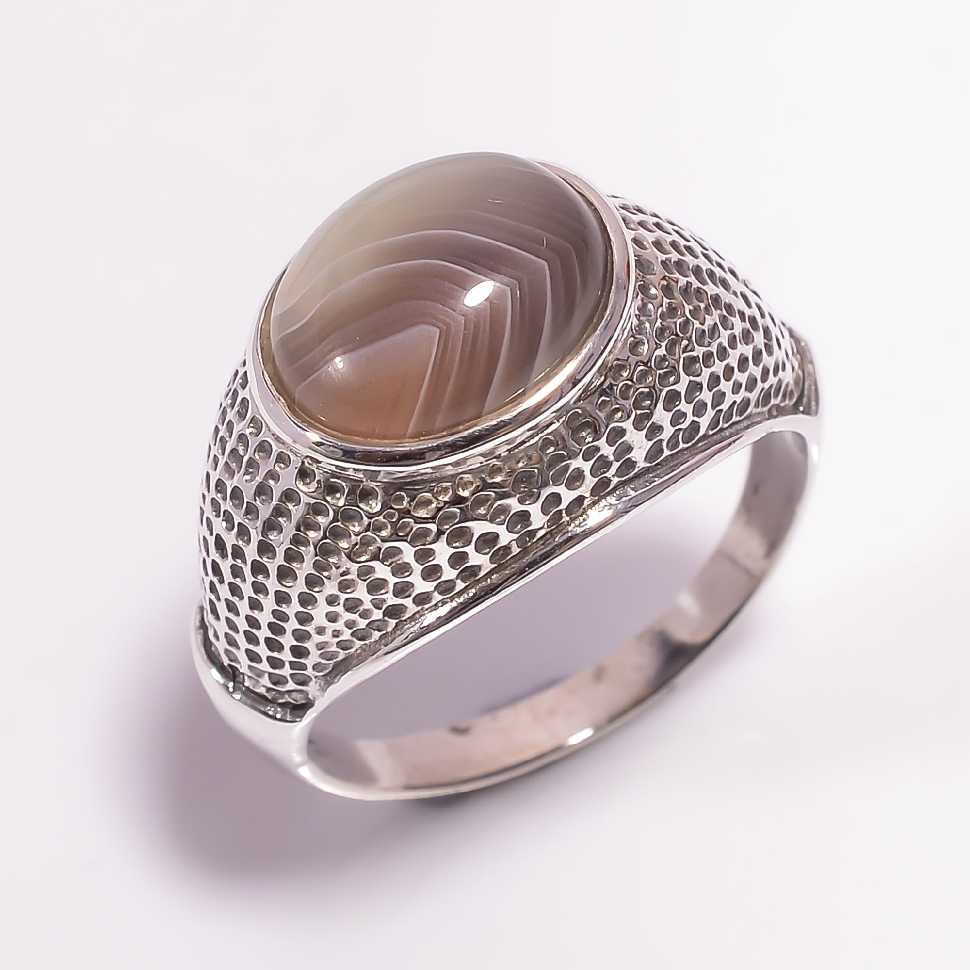 Botswana Agate Gemstone 925 Sterling Silver Ring Size US 10.25