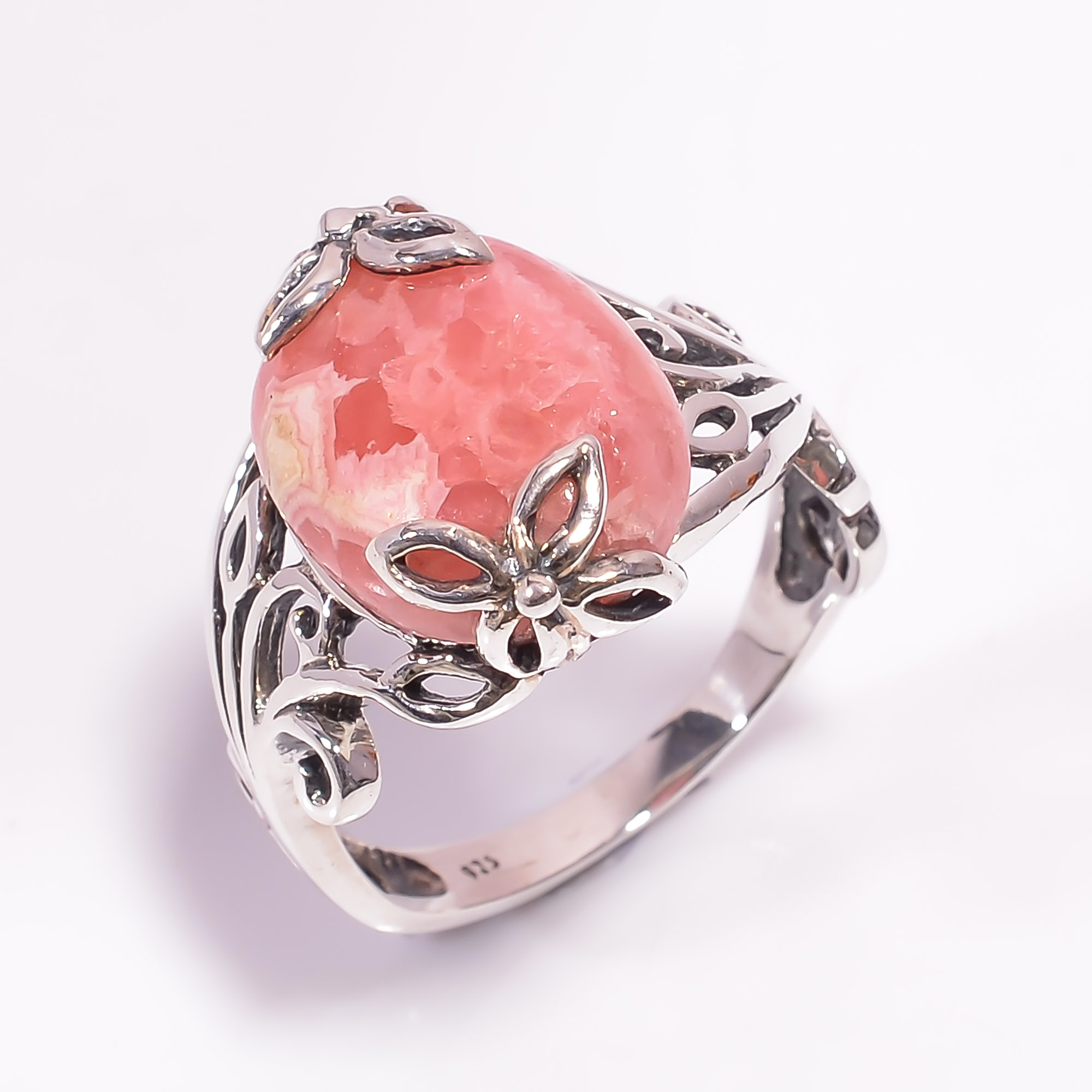 Rhodochrosite Gemstone 925 Sterling Silver Ring Size US 9